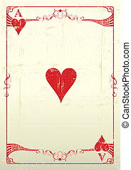 Ace Of Hearts grunge background - Ace Of Hearts with a ...