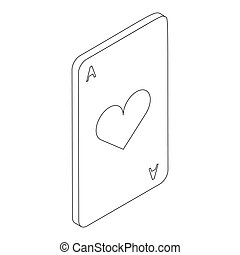 Ace of hearts icon, isometric 3d style