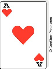 Ace of hearts on white background.Vector illustration.