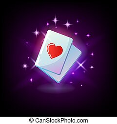 Ace of hearts, red heart suit card, ace, slot icon for online casino or logo for mobile game winning combination, poker hand on dark purple background, vector illustration.