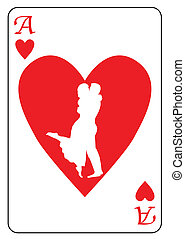 Ace of Hearts - The ace of hearts with a silhoustte of two...