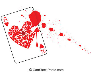Ace of Hearts With Blood - The Ace of Hearts with a bullet...