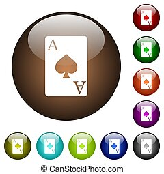 Ace of spades card color glass buttons - Ace of spades card...
