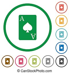 Ace of spades card flat icons with outlines - Ace of spades...