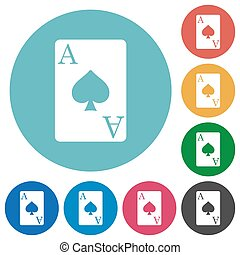 Ace of spades card flat round icons - Ace of spades card...