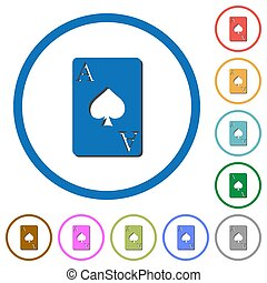 Ace of spades card icons with shadows and outlines - Ace of...
