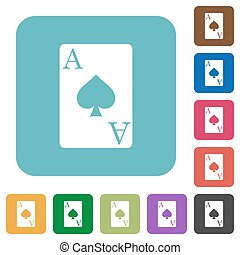Ace of spades card rounded square flat icons - Ace of spades...