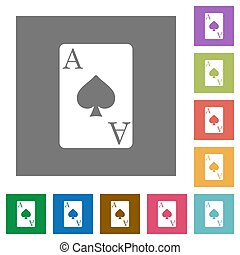 Ace of spades card square flat icons - Ace of spades card...