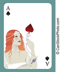 Ace of spades inspired by the story of Sleeping Beauty. Beautiful girl with a spindle in her hand unraveling a spade.
