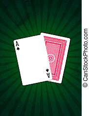 Ace of spades over a green grungy background