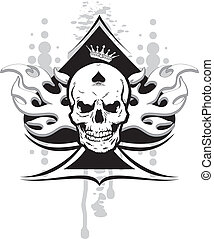 ace of spades with skull with a crown and a tribal