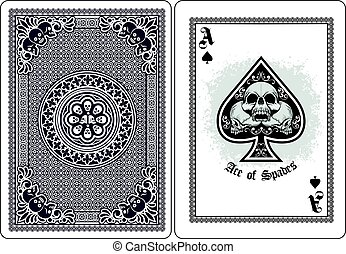 ace of spades with skull - Gothic coat of arms with skull, ...