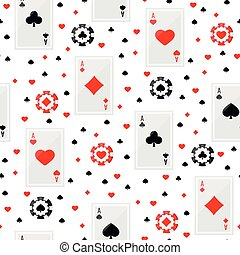 Ace playing cards and poker chips seamless pattern.
