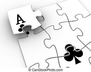 Ace puzzle - Conceptual ace on jigsaw shapes - 3d render