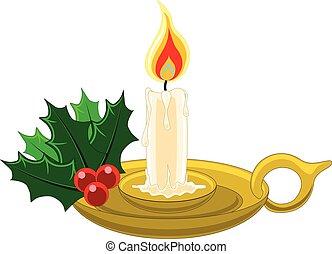 acebo, candleholder, vela, oro, mistletow