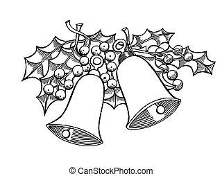 acebo, hojas, campanas
