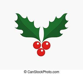 acebo, hojas, icon., rojo, navidad, bayas