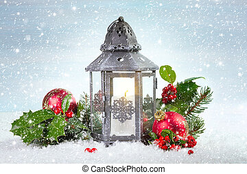 acebo, hojas, linterna, bayas, navidad