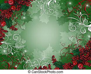 acebo, navidad, plano de fondo, bayas