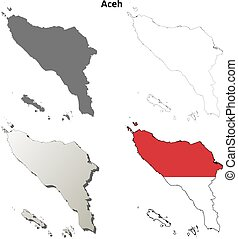 Aceh blank outline map set