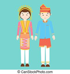 aceh north sumatra couple men woman wearing traditional ...
