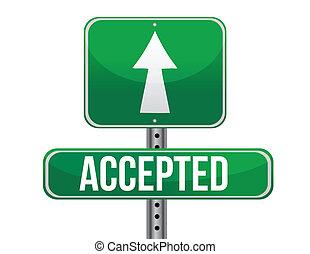 aceitado, sinal estrada