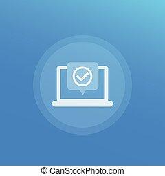 aceitar, ícone, checkmark, laptop, vetorial