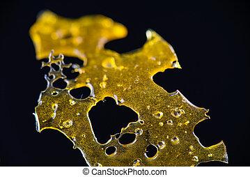 aceite, aislado, detalle, fragmentos, marijuana, arriba, ...