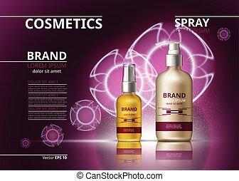aceite, anuncios, mockup, gel, paquete, cosmético, brillante, bottles., realista, productos, plano de fondo, piel, hidratando, 3d, template., illustration.