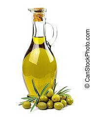 aceite, botella, aceituna, aceitunas