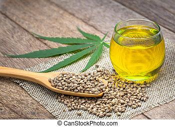 aceite, cáñamo, concept., medicina herbaria, cannabis, aceite, alternativa, cbd, semillas, extracto, marijuana