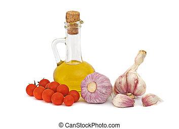 aceite, Cereza, botella, aceituna, tabla, ajo, tomates