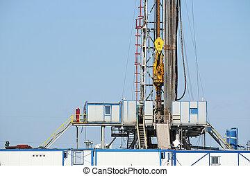 aceite, cima, unidad, sistema, torre de perforación