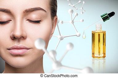 aceite, cosmético, cartilla, grande, chain., cara, molécula, mujer