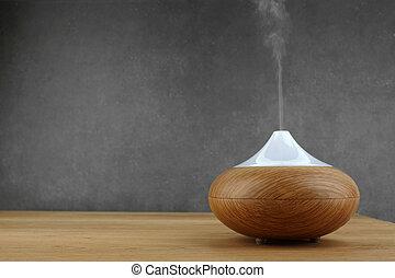 aceite, de madera, aroma, plano de fondo, difusor, tabla, gris