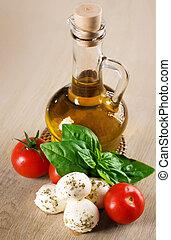 aceite de oliva, con, mozzarella, tomate, y, fresco, albahaca