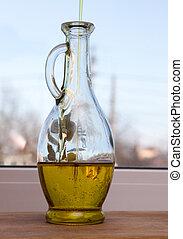 aceite de oliva, es, vertido, en, un, botella