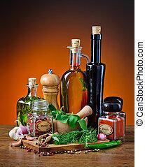 aceite de oliva, hierbas y especias
