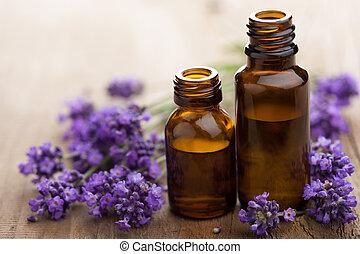 aceite esencial, y, lavanda, flores
