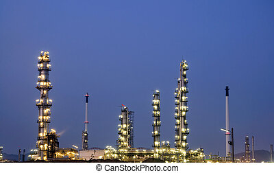 aceite, fábrica, en, noche