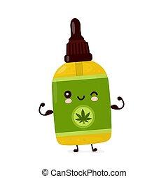 aceite, feliz, cannabis, lindo, cbd, divertido, botella