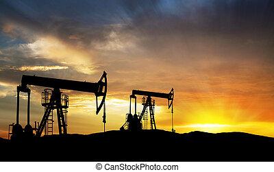 aceite, gas, exploración, equipo