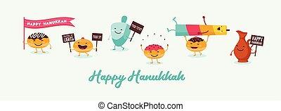 aceite, hanukkah, bandera, dreidel, divertido, feriado, ...