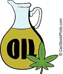 aceite, hoja, cannabis, cáñamo, caricatura, icono
