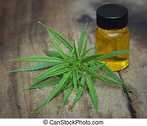 aceite, hojas, cannabis, verde, medicinal, extracto