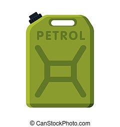 aceite, ilustración, combustible, verde, gasolina, vector, bote, jerrycan