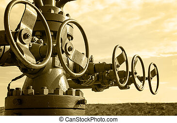 aceite, industry., wellhead., concepto, gas