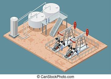 aceite, instalaciones, isométrico, cartel, producción