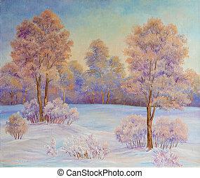 aceite, invierno, nieve, árboles, painting., original, paisaje, lona.