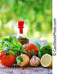 aceite, Mediterráneo, hierbas, aceituna, tomates